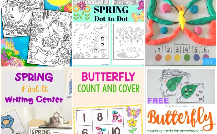 03.21 Printables: Mermaids Coloring, Spring Dot to Dot, Spring Writing, Roll a Butterfly, Butterfly Count and Frame