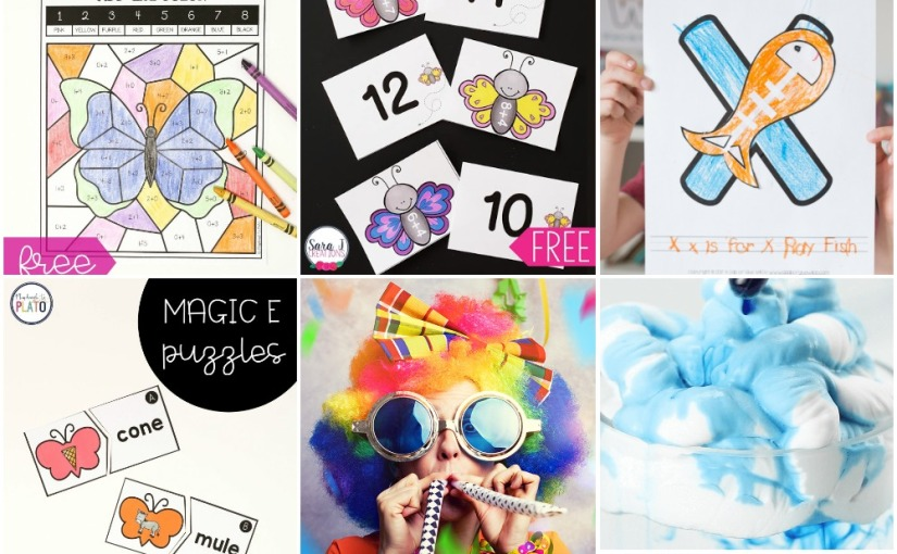 03.21 Butterfly Coloring and Addition Game, Letter X, Magic E Puzzles, Weather Theme, Birthday PartyGames