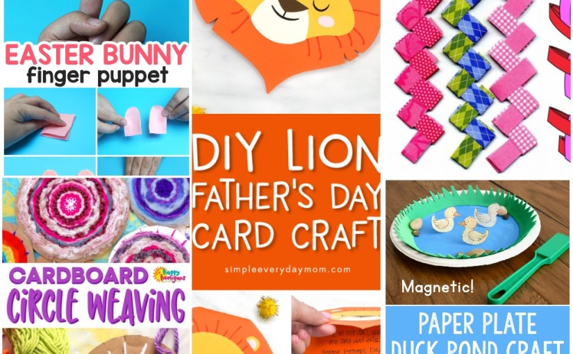 03.22 Crafts: Felt Finger Bunny, Lion Card, Paper Plate Duck Pond, Paper Chain, Circle Weaving on Cardboard