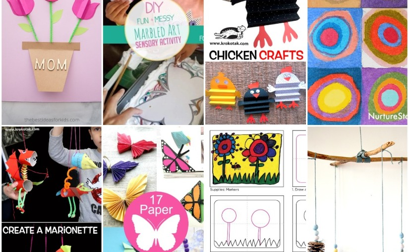 03.25 Crafts: Mother's Day Card, Marbled Art, Circles Art, Flowers to Draw, Chicken, Marionette, Paper Butterflies
