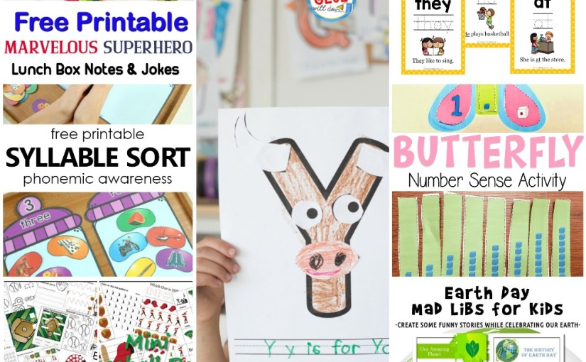 03.25 Printables: Marvelous Superhero Notes, Butterfly Number, Sight Word, Baseball Themed, Earth Day MadLibs