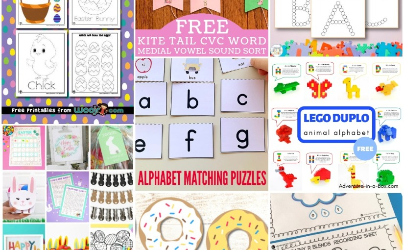 03.26 Printables: Lego Duplo Alphabet, Easter Tracing, Alphabet Worksheets, Kite CVC Word Sort, Rainy R Blends