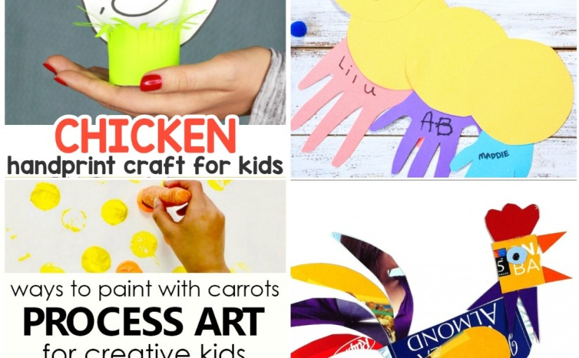 03.27 Crafts: Painting with Carrots, Chichen Handprint, Caterpillar Handprint, Recycled Rooster
