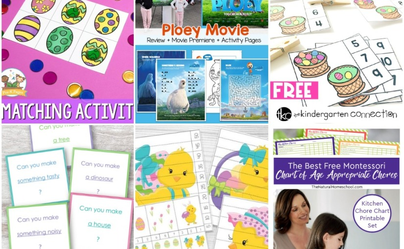 03.27 Printables: Ploey Movie Pages, Easter Egg Matching and Counting, Construction Challenge, MontessoriChores