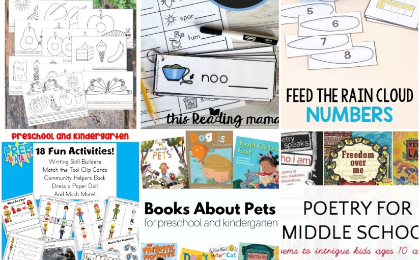 03.28 Caterpillar Coloring Pages, Number Math, Community Helpers, Syllables Writing, Books about Pets and Poetry