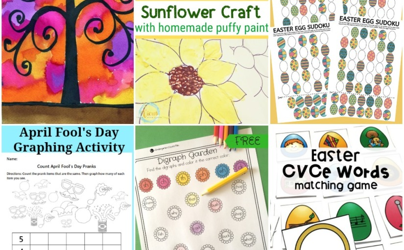 03.29 Sunflower and Tree Painting, Easter Egg Sudoku, April Fool's Graphing, Garden Digraph, Easter CVC Words