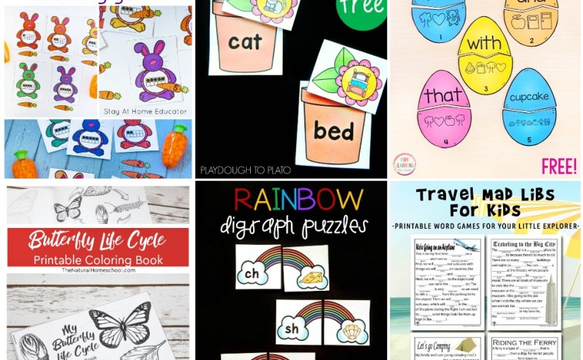 04.01 Printables: Bunny Ten Frame, Flower CVC, Rainbow Digraph, Butterfly Life Cycle, Easter Secret Code, Travel Mad