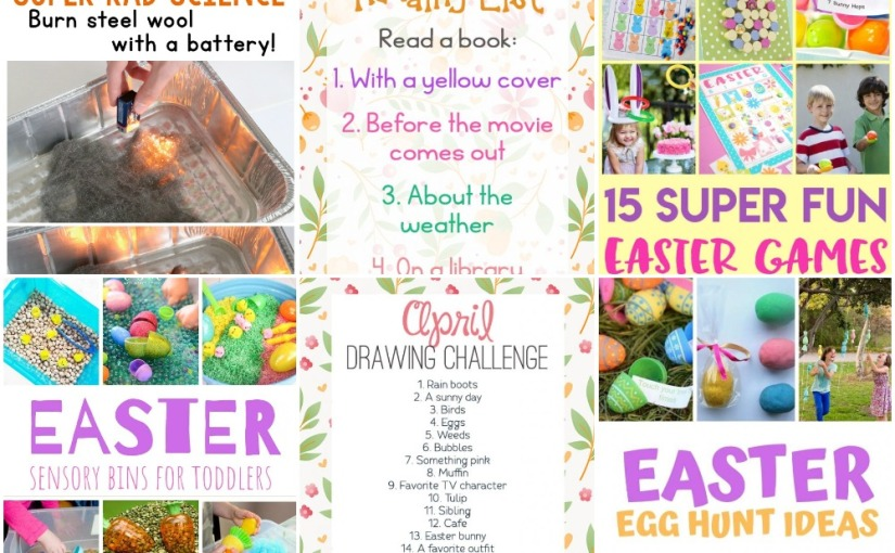 04.02 Burn Steel Wool, Reading and Drawing Challenges, Easter Games, Easter Hunt and Easter Sensory Bins