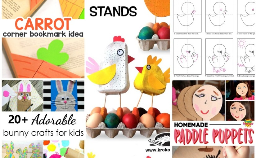 04.03 Crafts: Carrot Corner Bookmark, Draw a Baby Chick, Easter Egg Stands, Paddle Puppet,Bunny