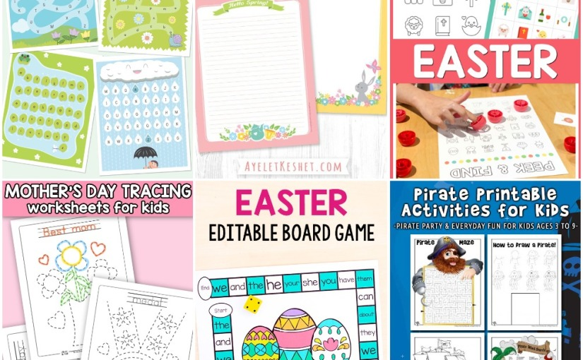 04.03 Printables: Mother's Day Tracing, Alphabet Mazes, Peek & Find Easter, Pirate Activities, Easter Board Game
