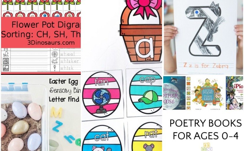 04.03 Z is for Zebra, Egg Hunt Short Vowel, Flower Digraph, Easter Sensory Letter Find, Poetry Books