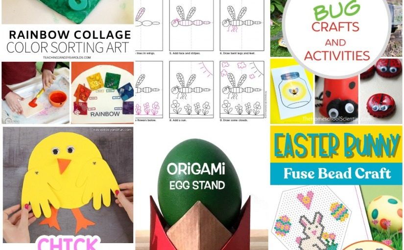 04.04 Crafts: Rainbow Collage Art, Bugs, Origami Egg Stand, Handprint Chick, Easter Bunny, Dragonfly Drawing