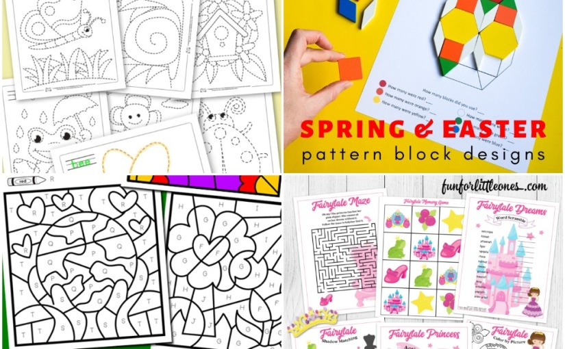 04.04 Printables: Spring Tracing, Earth Day Color by Letter, Easter & Spring Block Patterns, Fairytale Princess Pack