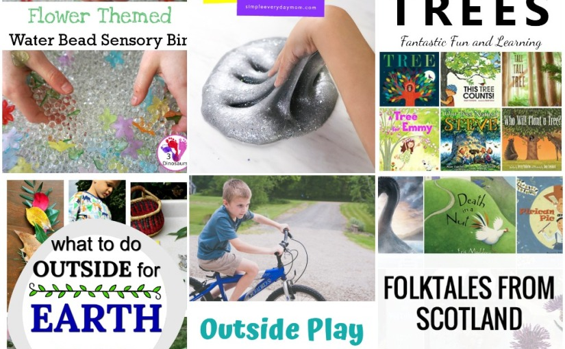 04.04 Outside Play, Flower and Bead Sensory Bin, Glitter Slime, Scottish Folklore, Books about Trees