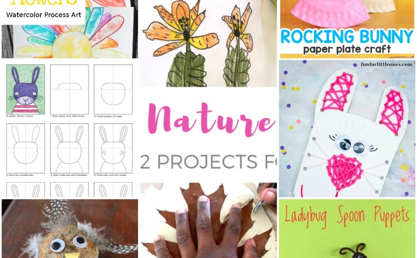 04.05 Crafts: Watercolor Flower, Spoon Ladybug, Bunny – Rocking, Lacing and Draw, Rock Chick, Nature Art