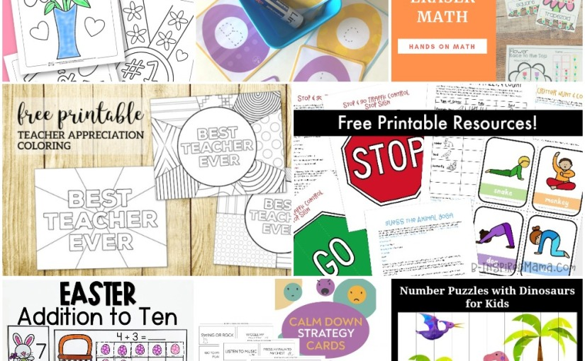 04.05 Printables: Mother's Coloring, Easter Letter Tracing, Dinosaurs Puzzles, Easter Addition, Calm Down Strategies