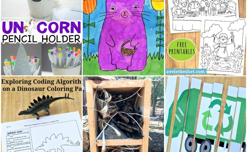 04.07 Unicorn Holder, Easter Bunny, Passover Coloring, Earth Day Worksheets, Dinosaur Algorithms, DIY Insect Hotel