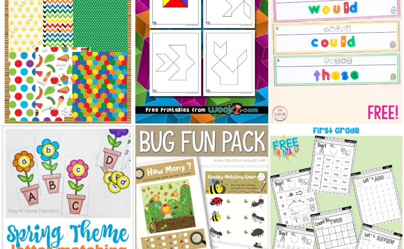 04.08 Printables: Animal Tangrams, Cutting Practice, Flower Letters, Easter Secret Code, Bug Pack, Spring Work Book