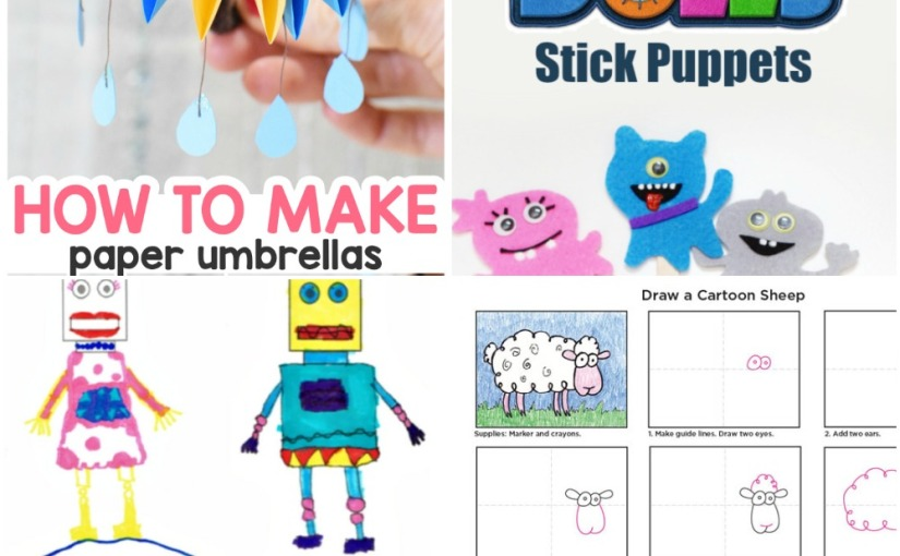 04.09 Crafts: Paper Umbrellas, Creative Drawing with Printables, Ugly Dolls Puppets, Cartoon SheepDrawing