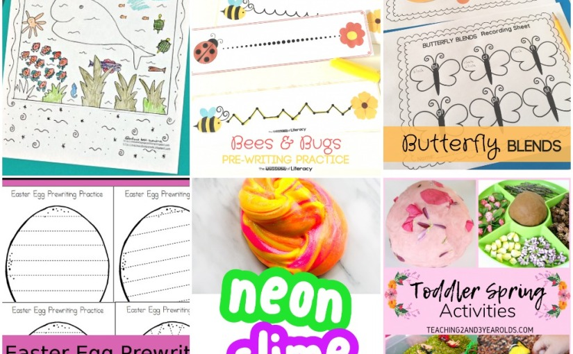 04.09 Sea Coloring, Easter Egg Prewriting, Bees and Bugs Tracing, Butterfly Blends, Neon Slime, SpringActivities