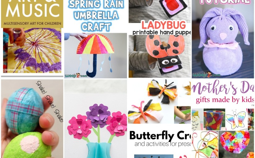 04.11 Crafts: Easter Sock Bunny, Spring Umbrella, Flower, Egg Maracas, Ladybug, Butterfly, Mother's Day Gifts