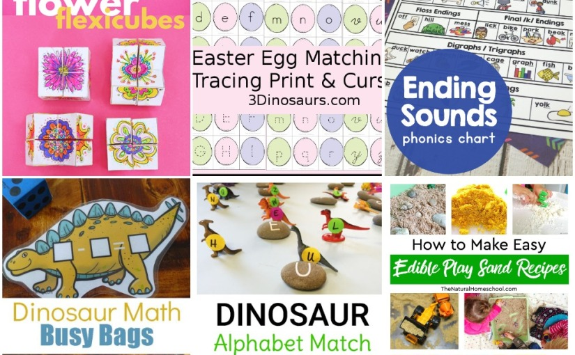 04.11 Flower Flexicube, Easter Egg ABC, Dinosaur Math, Ending Sounds, Dinosaur Egg Alphabet, Play Sand Recipes