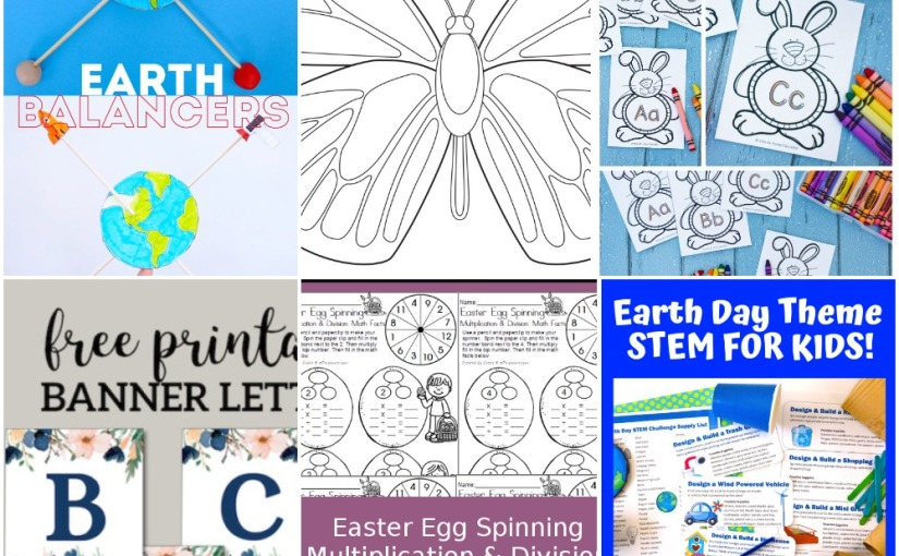 04.12 Printables: Earth Balancer, Butterfly, Floral Banner, Bunny Writing Alphabet, Easter Egg Multiplication