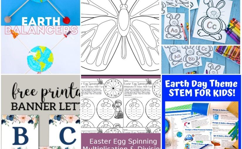 04.12 Printables: Earth Balancer, Butterfly, Floral Banner, Bunny Writing Alphabet, Easter EggMultiplication