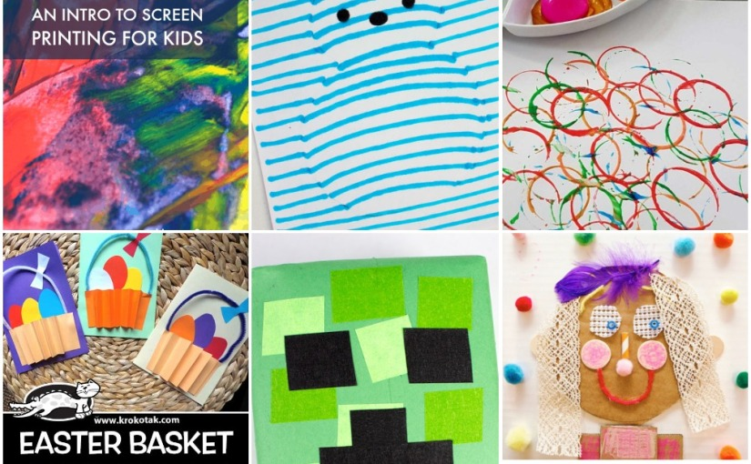04.12 Crafts: Scrape Art, Easter Egg Printing, Optical Illusion Peeps, Creeper, Easter Basket, Mixed Media Collage