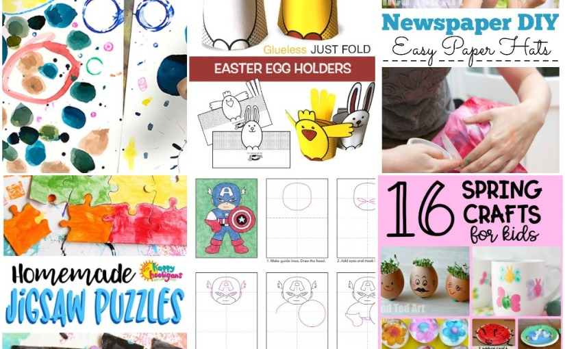 04.15 Crafts: Dot Painting, Jigsaw Puzzles, Newspaper Hat, Easter Egg Holders, Captain America, Spring Crafts