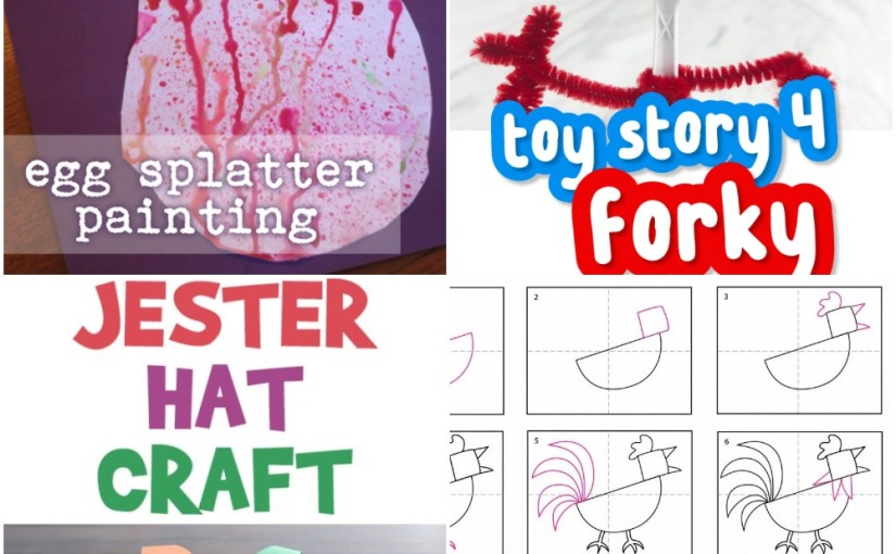 04.16 Crafts: Easter Egg Splatter Painting, Forky from Toy Story 4, Jester Hat, RoosterDrawing