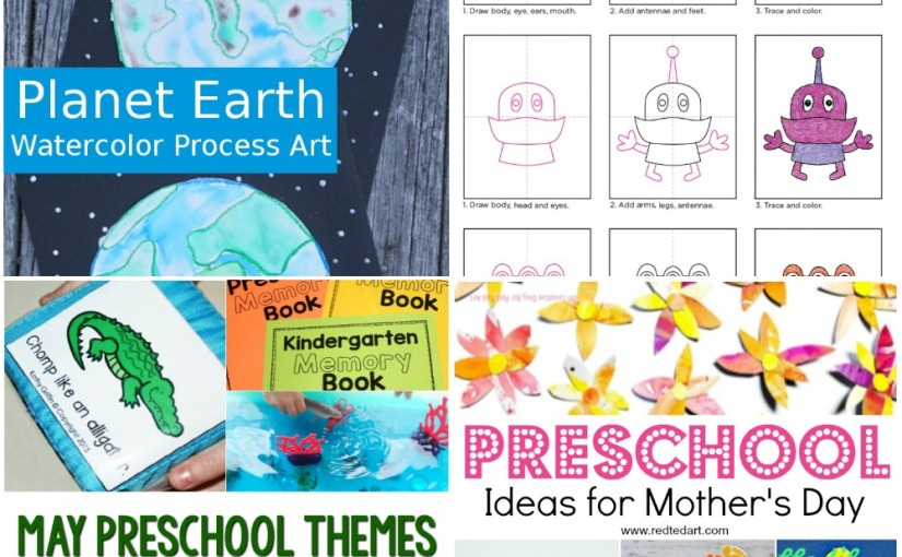 04.17 Crafts: Watercolor Earth, Aliens Drawing, Mother's Day Ideas, May Preschool Themes