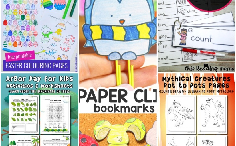 04.17 Printables: Eggs Coloring, Paper Clip Bookmarks, Mythical Dot to Dots, Inflected Endings, Arbor Day