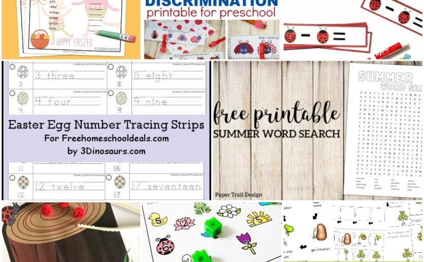 04.18 Printables: Summer Word Search, Easter Scramble, Ladybug Subtraction and Count, Easter Egg Number Tracing