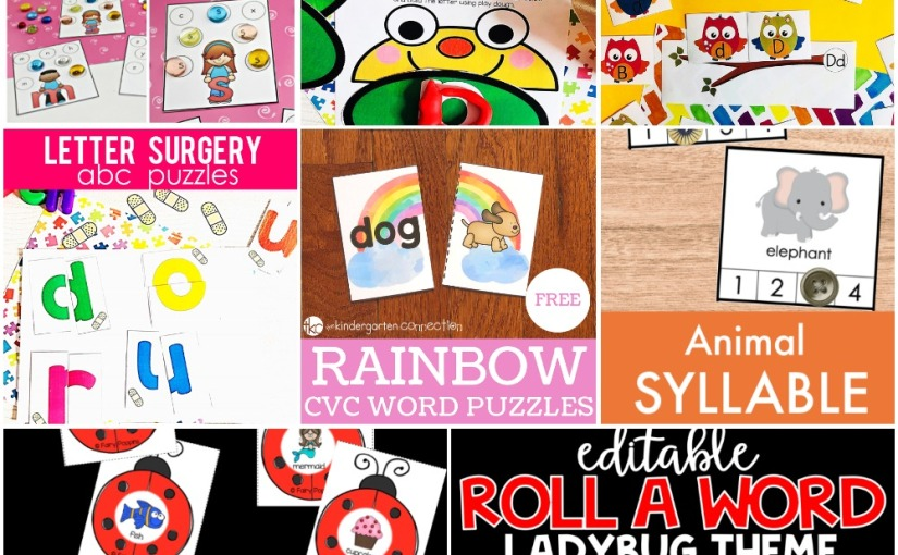 """04.18 Printables: Letter Recognition, Build, """"Surgery"""" Puzzles and Sorting, Rainbow CVC Word, LadybugSyllable"""