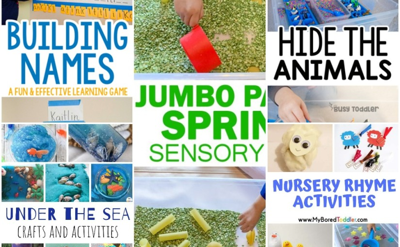 04.19 Building Names, Hidden Animals and Jumbo Pasta Sensory Bin, Nursery Rhyme and Under the Sea Activities