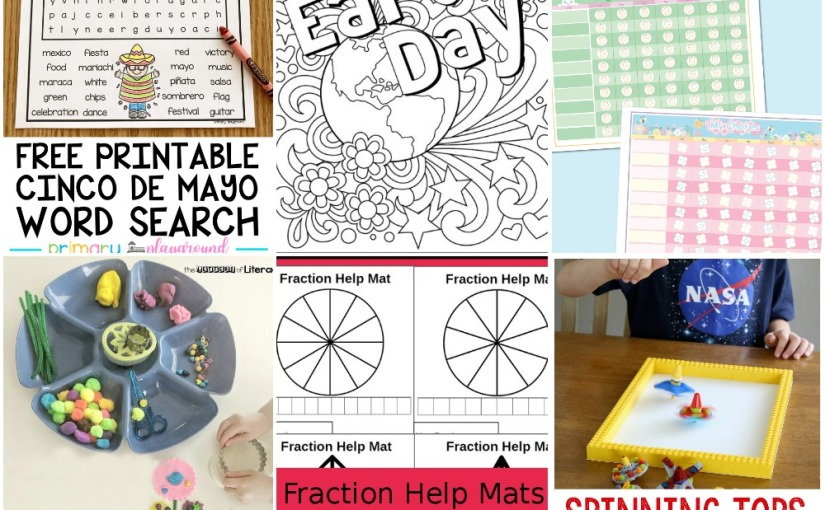 04.21 Earth Day Coloring, Chore Chart, Cinco De Mayo Word Search, Fraction Help Mats, LEGO Spinning Tops