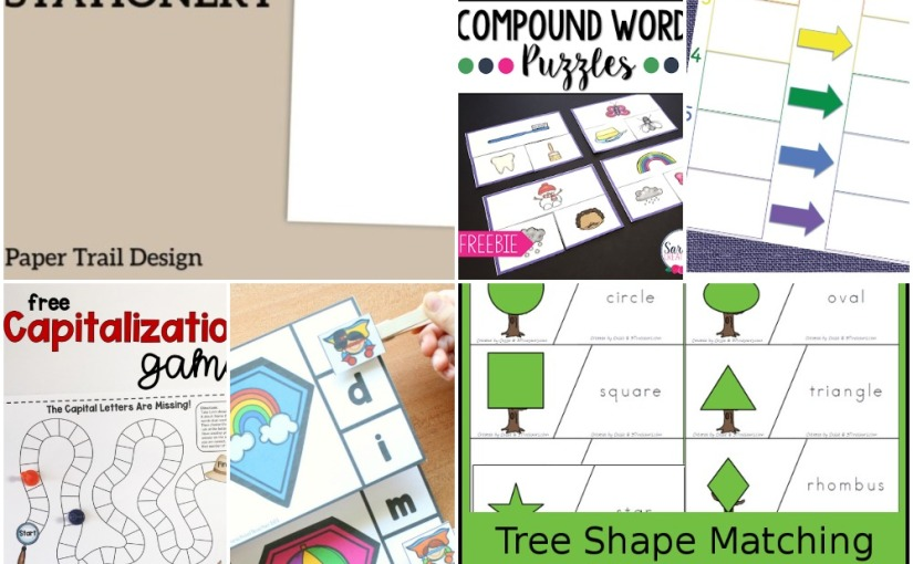 04.22 Printables: Floral Stationery, Tree Shape, Capitalization Game, Compound Word, Superhero Beginning Sounds