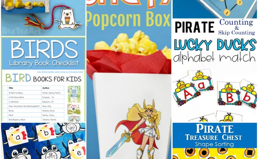 04.24 Printables: Red Ted Bookmark, She-Ra Box, Bird Books, Ducks Alphabet, Sharks Beginning Sounds, Pirate Counting