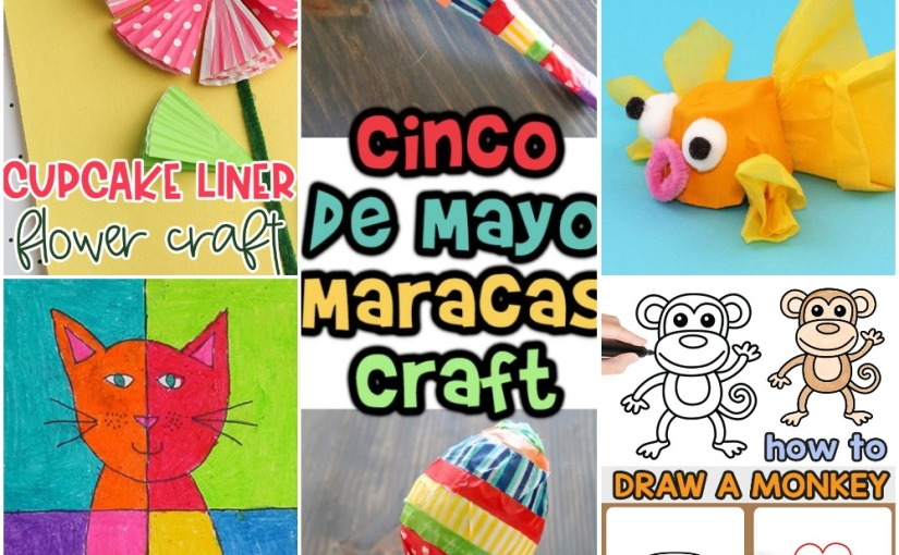 04.25 Crafts: Cupcake Liner Flower, Egg Carton Goldfish, Drawing Monkey, Abstract Cat Art, Maracas