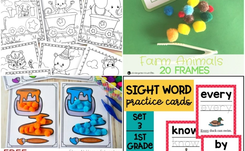 04.25 Printables: Circus Train Coloring, Color Sorting Mats, Farm Animals 20 Frames, Sight Word Practice Cards