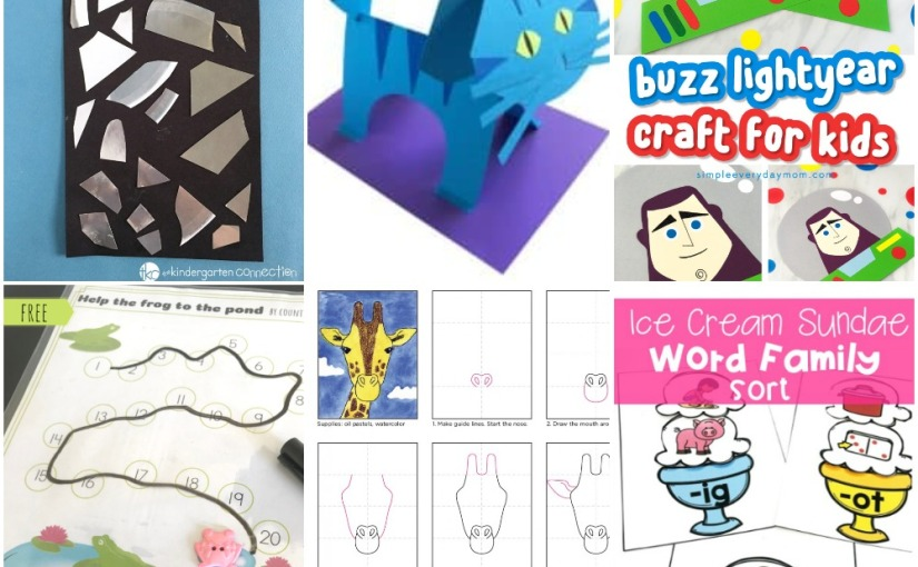 04.26 Shape Collage, Paper Cat, Giraffe Drawing, Buzz Lightyear, Frog Pond Counting, Ice Cream CVC Wort Sort