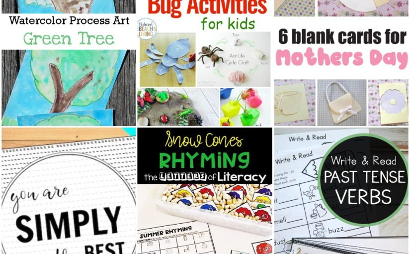 04.27 Watercolor Green Tree, Mother's Day Card Templates, Bug Activities, Past Tense Verbs, Snow Cones Rhyming Words
