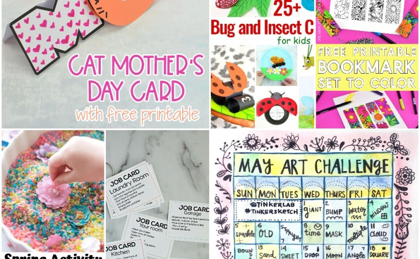 04.28 Mother's Day Cat Card, Bug and Insect Crafts, Floral Bookmarks, Chores for Teens, Spring Sensory, Art Challenge