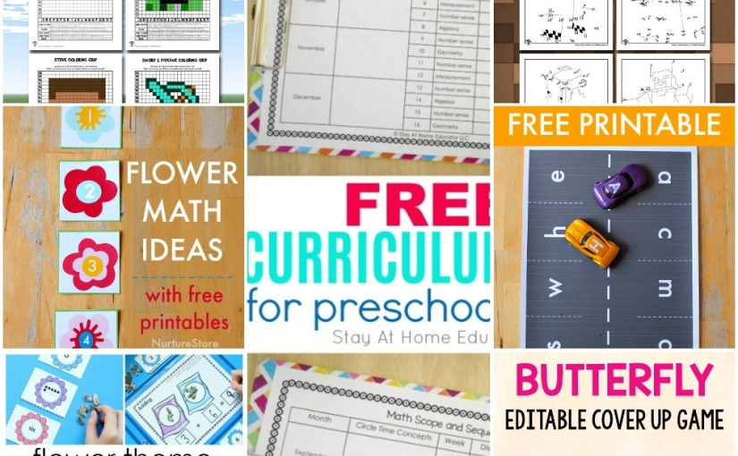 04.29 Printables: Minecraft Dot to Dot and Pixel Art, Flower Number Cards, Car Play Mat, Butterfly Alphabet, Curriculum Map