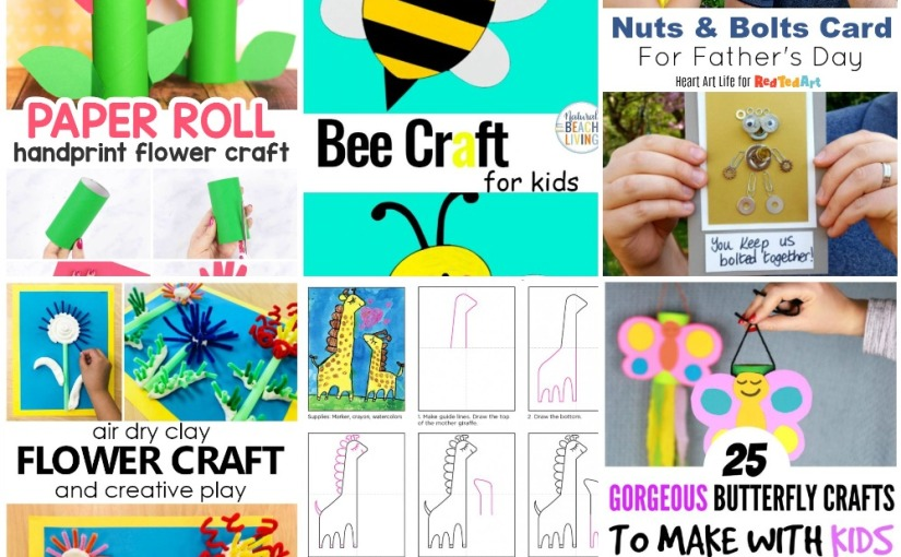 05.01 Crafts: Paper Roll Flower, Bee Template, Father's Day Card, Clay Flower, Mother's Day Painting, Butterfly