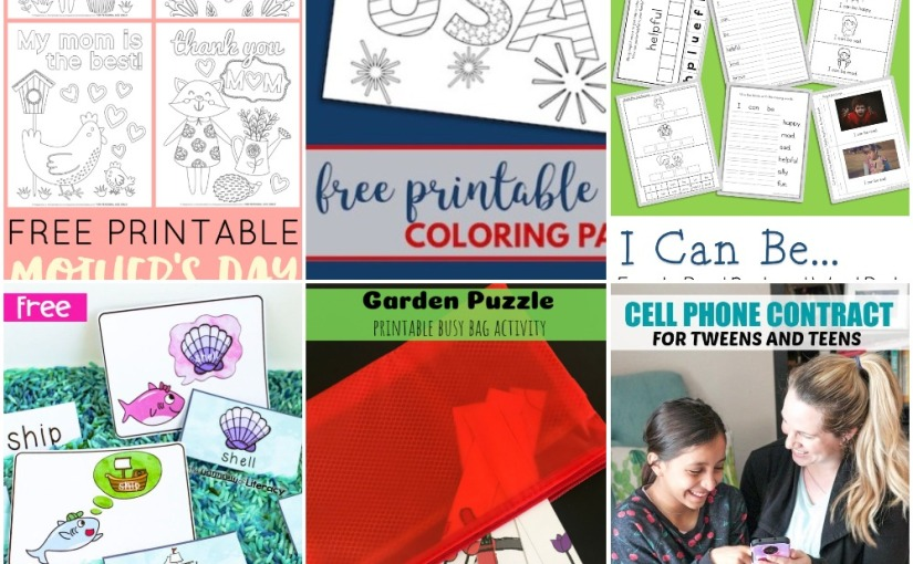05.01 Printables: Mother's Day Coloring, 4th of July Coloring, Garden Puzzle, SH Digraph, Easy Reading, Phone Contract
