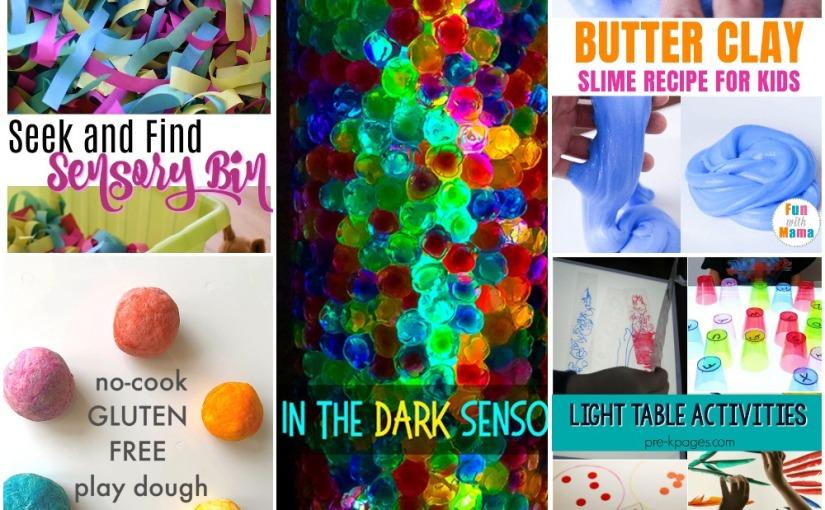 05.01 Sensory Play: Glowing Sensory Bottle, Gluten Free Play Dough, Butter Clay Slime, Seek and Find, LightTable