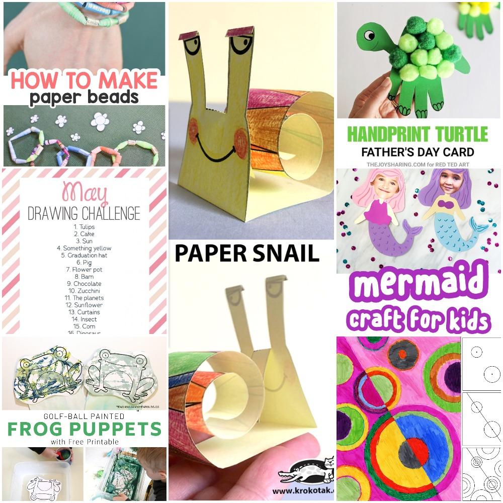 05 02 Crafts Paper Beads Turtle Handprint Mermaid Circles Art