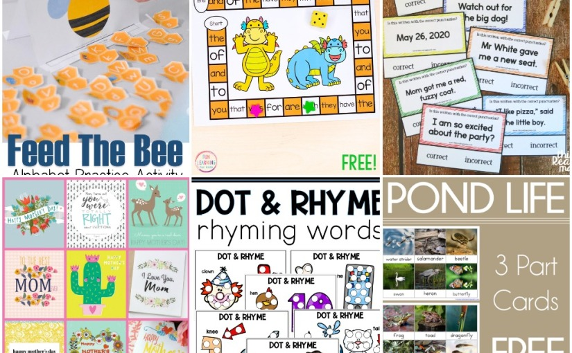 05.02 Printables: Feed The Bee, Dragon Board Game, Dot and Rhyme, Mother's Day Cards, Punctuation Cards, Pond Life